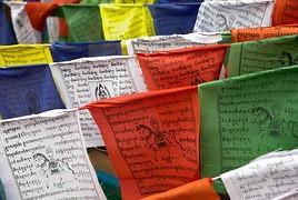 Foto van Tibetaanse gebedsvlaggen